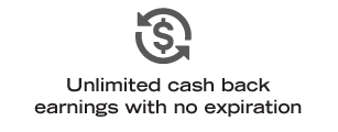 Unlimited cash back earnings with no expiration