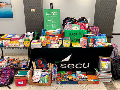 Piles of school supplies donated by SECU employees.