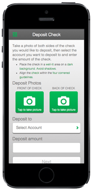example of mobile check deposit screen