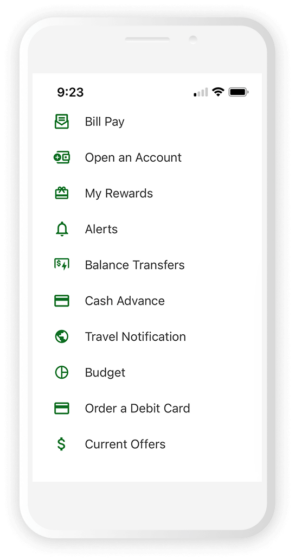 Mobile screen view of the SECU banking app